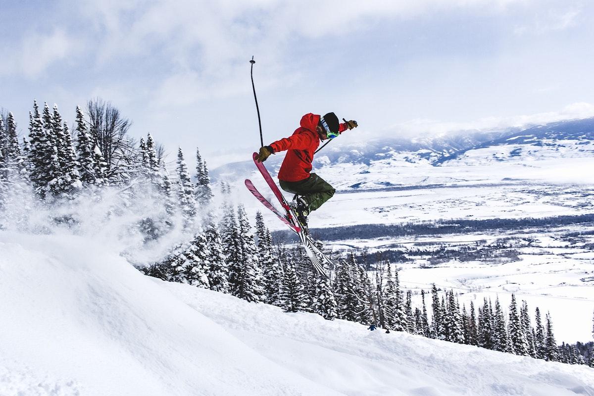Winter Skiing Air Jump